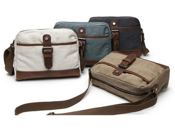 Canvas and Leather cross body small messenger bag