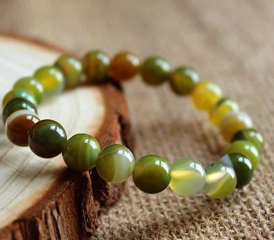 Agate green beaded stone bracelet
