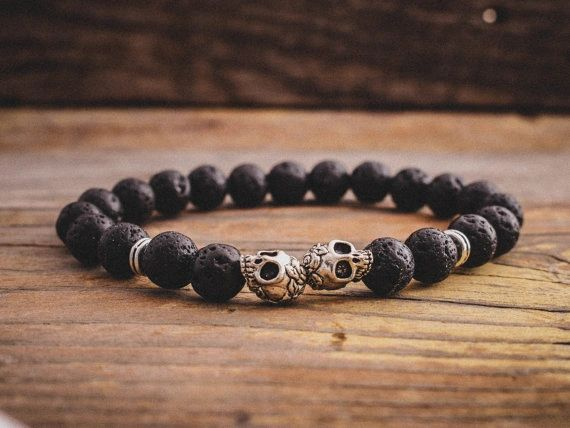 Lava and Alloy beaded bracelet with skulls