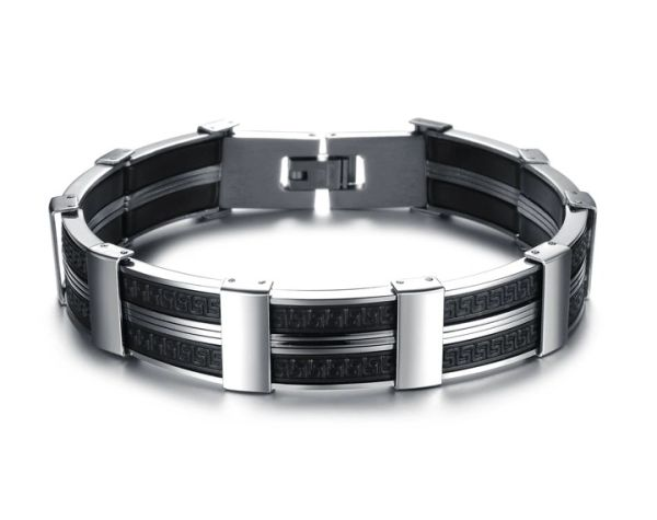 Stainless steel and silicone insert bracelet