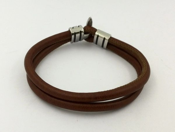 Double strand leather bracelet with hook bar closure