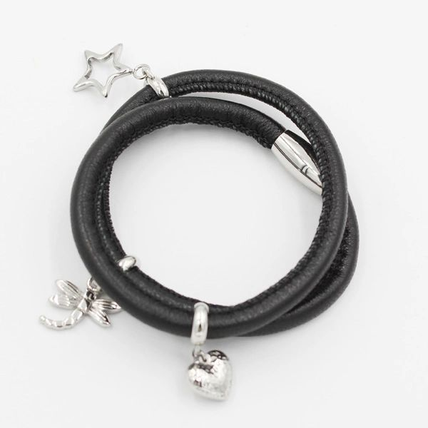 Padded leather wrap bracelet with charms