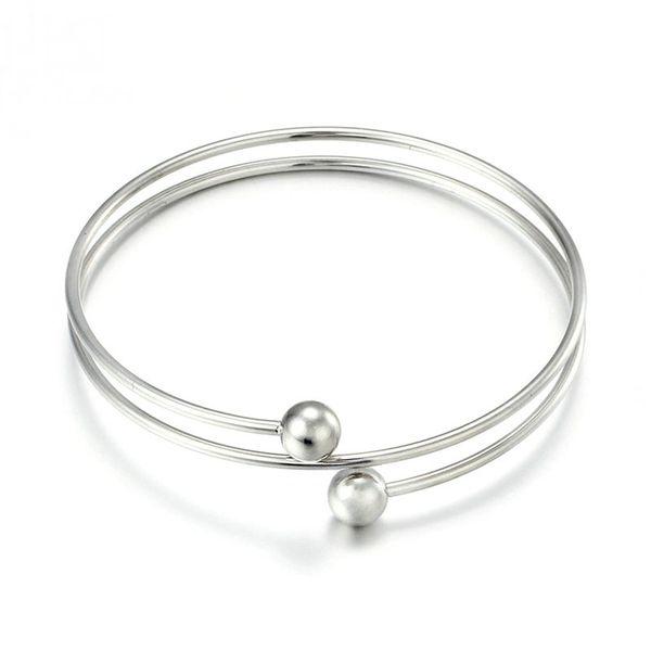 Stainless steel double ring bracelet
