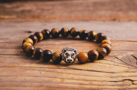 Tiger's eye beaded bracelet with lion head