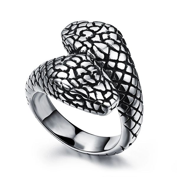 Stainless steel embossed snake ring