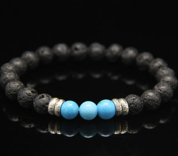 Lava and Agate beaded stone bracelet