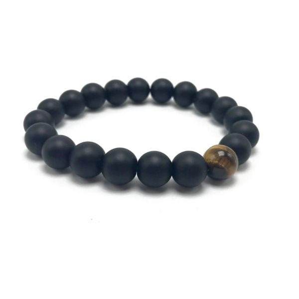 Black Agate and Tigers eye beaded bracelet