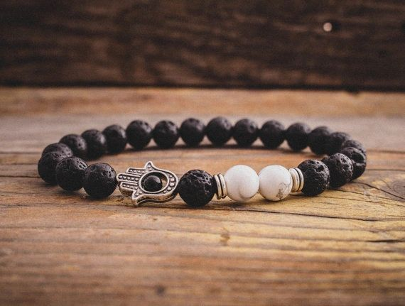 Lava beaded stone bracelet with Hamsa
