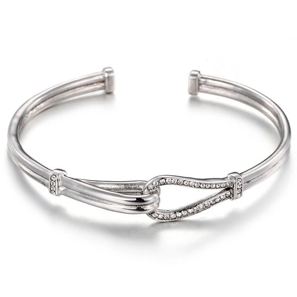 Stainless steel bangle with jeweled loop