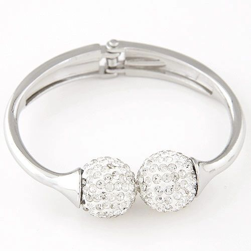 Rhinestone cluster hinged bangle