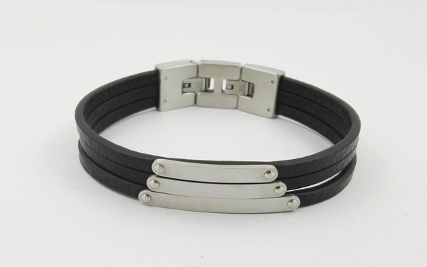 Triple strand leather bracelet