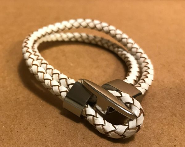 Double strand braided leather bracelet