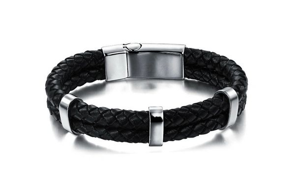 Leather double braided bracelet with stainless steel