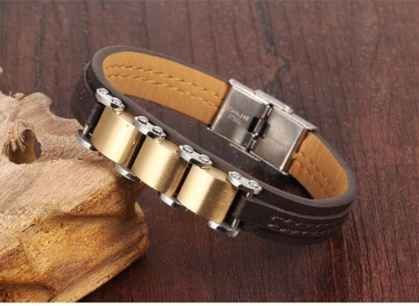 Leather bracelet with stainless steel trim