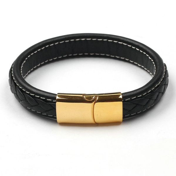 Braided leather bangle with goldtone closure