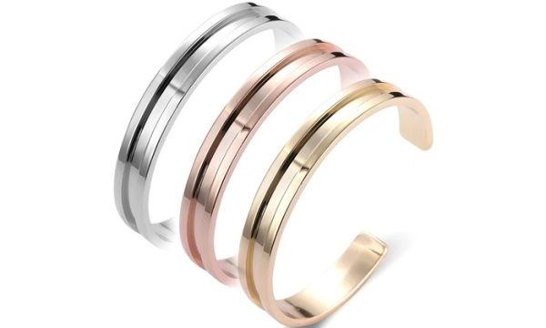Stainless steel bangle with hair tie