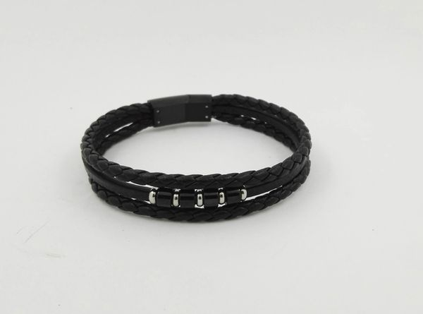 Braided leather triple strand bracelet