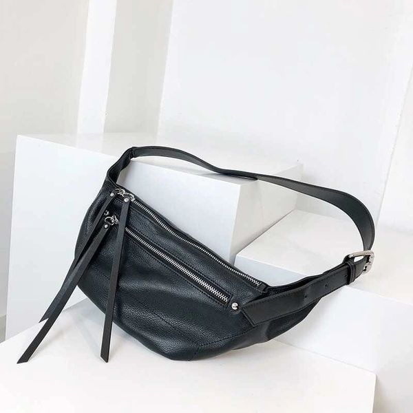 Black leather waist bag