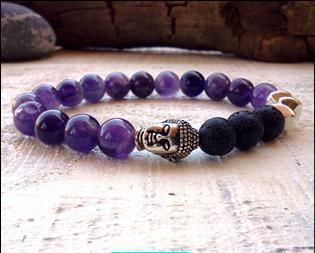 Lava, Amethyst and Alloy Stone Buddha bracelet