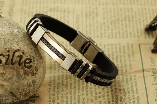 Silicone bracelet with stainless steel trim