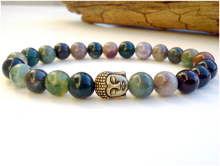 Agate beaded bracelet with Buddha