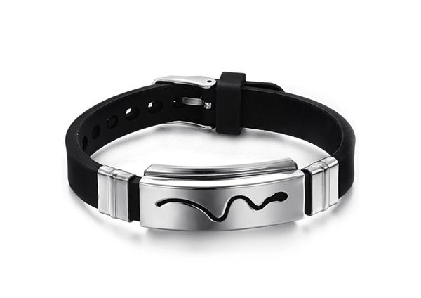 Silicone bracelet with stainless steel id trim