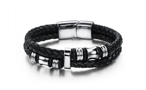 Braided leather bracelet with stainless steel trim