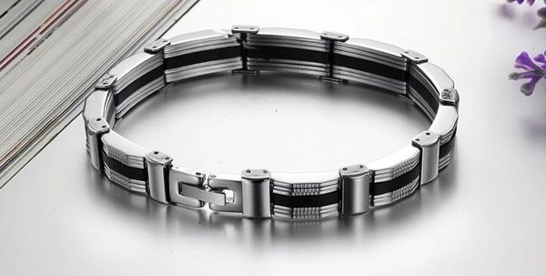 Stainless steel bracelet with silicone insert