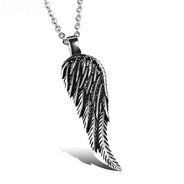 Single angel wing pendant with stainless steel chain
