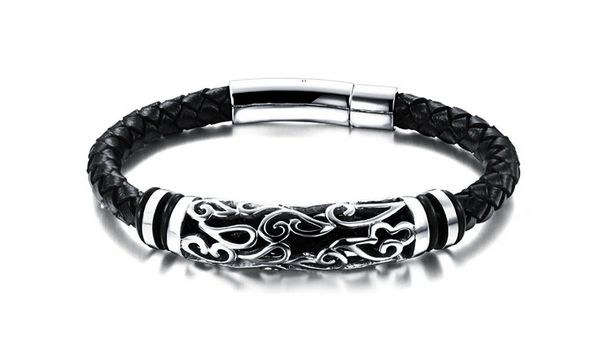Leather bracelet with stainless steel bead