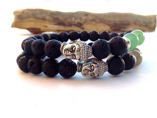 Lava stone double strand beaded bracelet with Buddha charms