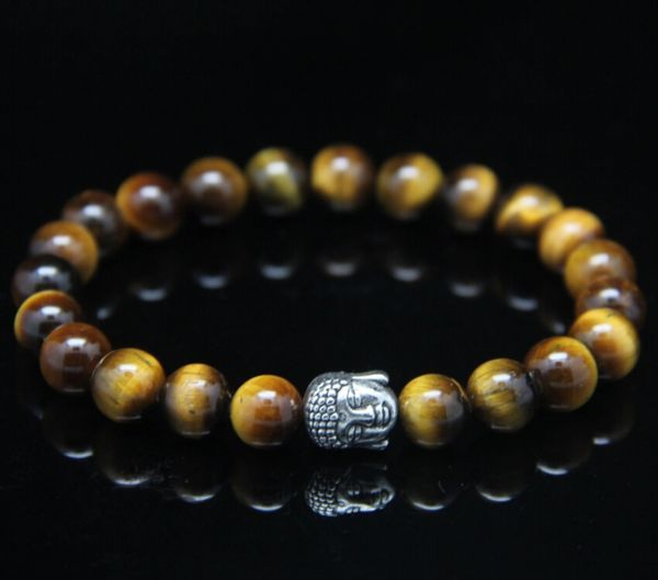Tiger's eye beaded stone bracelet with Buddha charm
