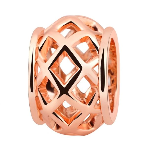 Stainless steel lattice charm bead