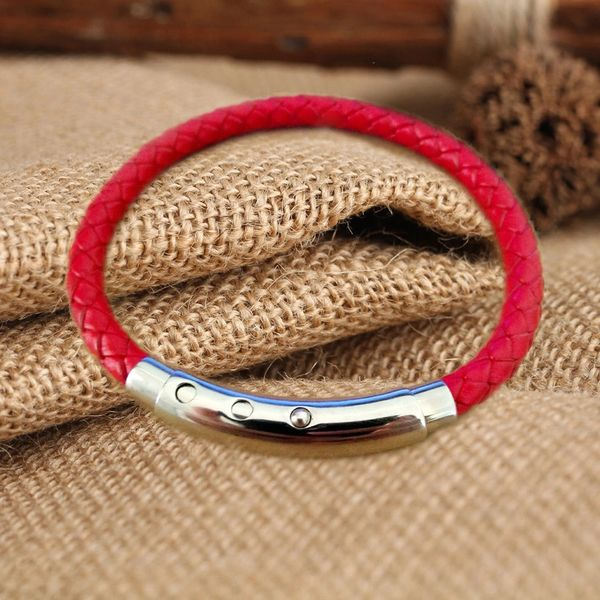 Braided red leather single strand bracelet