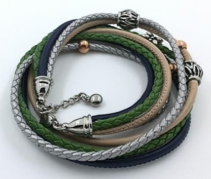 Multi strand braided leather and cord bracelets with beads
