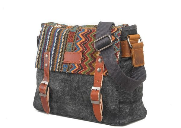Canvas messenger bag with embroidered flap