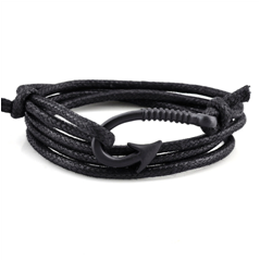 Leather multi-wrap bracelet with black hook