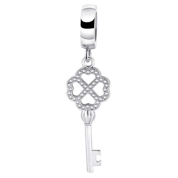 Stainless steel jeweled key charm