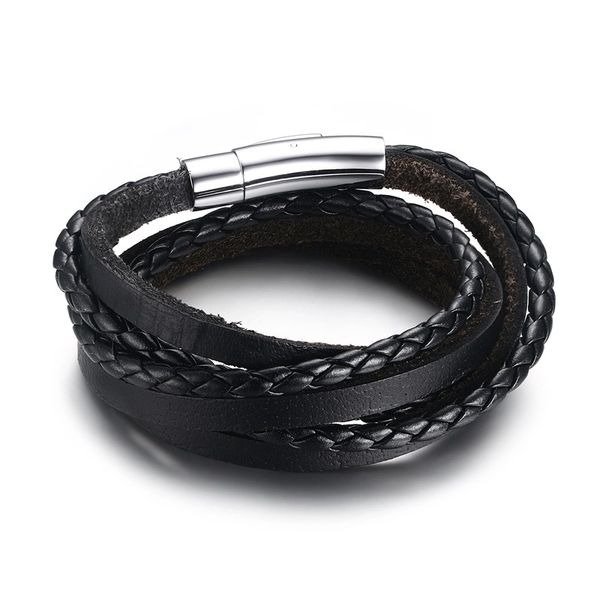 Leather multi strand wrap bracelet