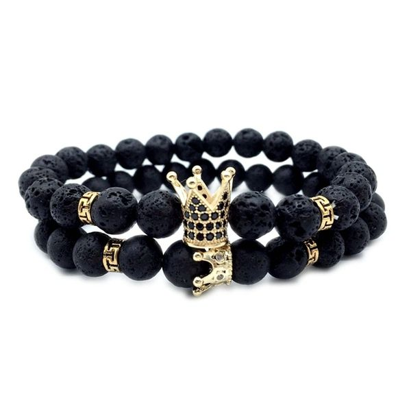 Black lava beaded bracelet set