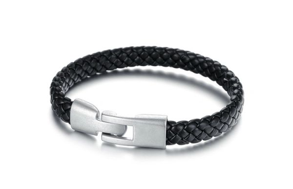 Leather braided bracelet with stainless closure