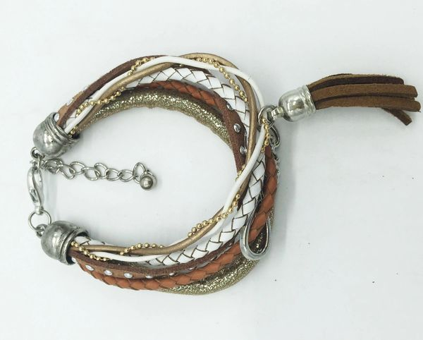 Multi strand leather bracelet with leather tassel