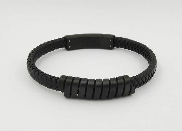 Single leather bracelet with black trim