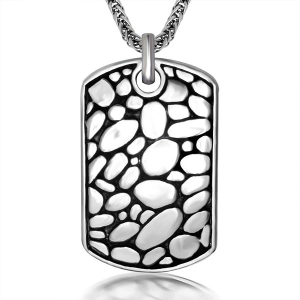 Stainless steel engraved dog tag style pendant with stainless steel chain