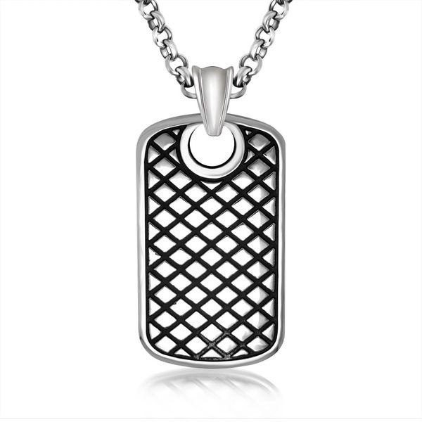 Stainless steel engraved dog tag pendant with stainless steel chain