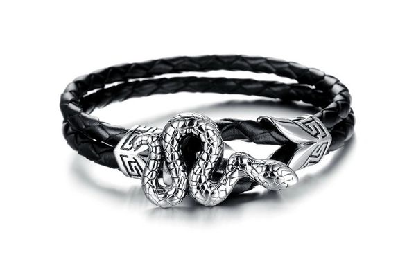 Braided leather bracelet with snake closure