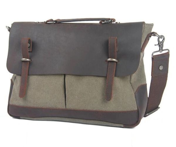 Canvas double pocket messenger bag