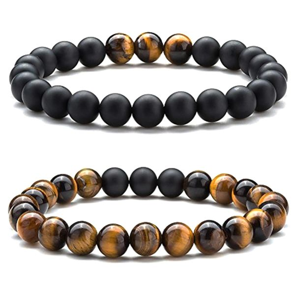 Black Agate and Tigers eye beaded bracelet set