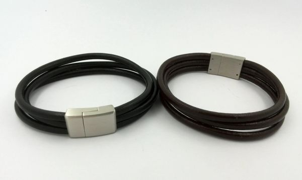 Triple strand leather bracelet with stainless steel closure
