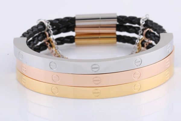Stainless steel and leather bangle with chain